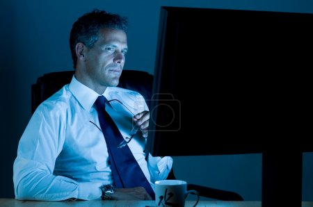 Businessman working till late