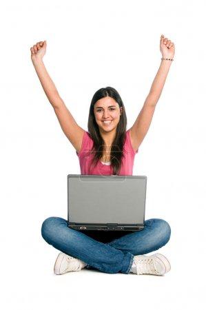 Happy smiling girl success