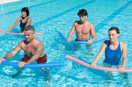 Aquagym exercise with tube