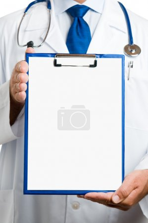 Photo for Doctor showing blank clipboard to write it on your personal message or advice - Royalty Free Image