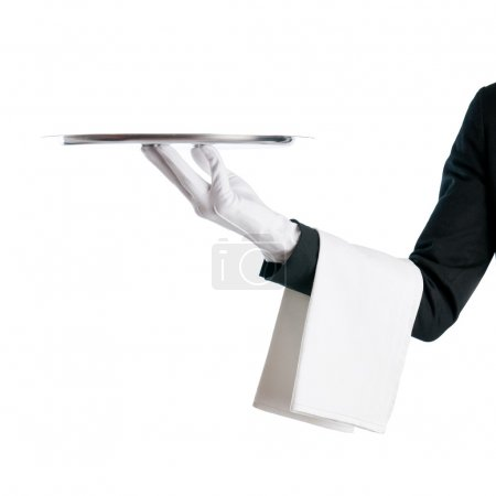 Photo for Waiter serving with stainless tray isolated on white background - Royalty Free Image