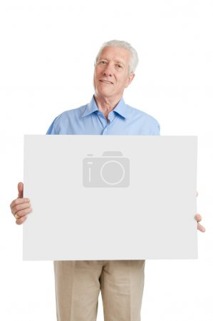 Senior old man with sign