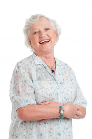 Photo pour Happy joyful senior lady looking at camera and smiling isolated on white background - image libre de droit