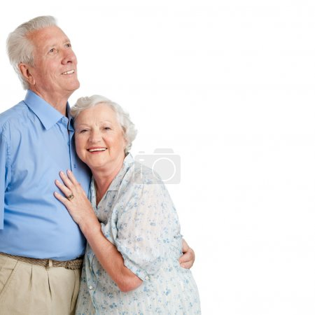 Photo for Happy smiling old couple standing together isolated on white background copy space - Royalty Free Image