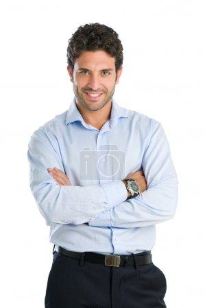 Photo pour Heureux homme d'affaires souriant regardant la caméra avec satisfaction, isolé sur fond blanc - image libre de droit