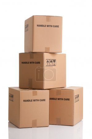 Photo for Pile of cardboard boxes ready to be shipped isolated on white background - Royalty Free Image