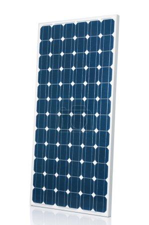 Foto de Panel solar moderno azul aislado sobre fondo de estudio blanco - Imagen libre de derechos
