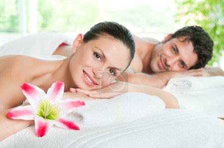 Photo for Happy smiling couple enjoy a beauty treatment - Royalty Free Image