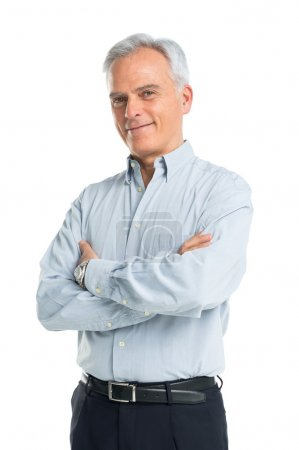 Photo for Happy Mature Man With Arms Crossed - Royalty Free Image