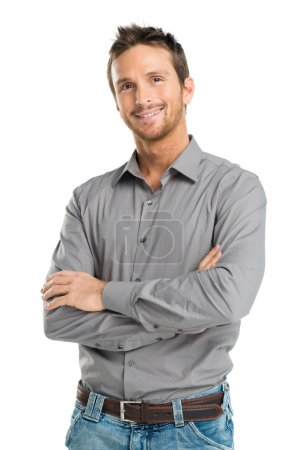 Foto de Retrato de hombre joven feliz aislado sobre fondo blanco - Imagen libre de derechos