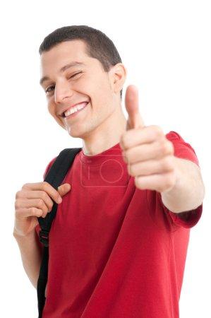 Happy student thumb up