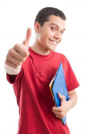 Photo for Smiling successful young student showing thumb up isolated on white background - Royalty Free Image