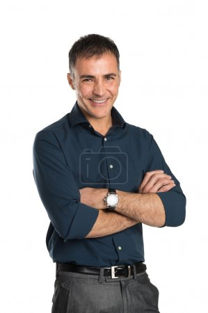 Photo for Portrait Of Happy Businessman With Arms Crossed Isolated On White Background - Royalty Free Image