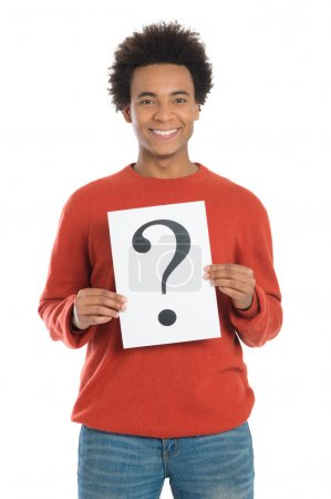 Man Holding Question Mark Sign