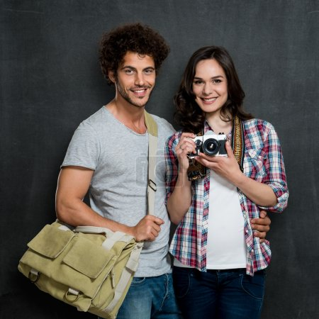 Couple Of Photographers With Vintage Camera