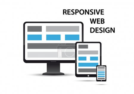 Illustration for Responsive web design, elements are displayed on different devices - Royalty Free Image