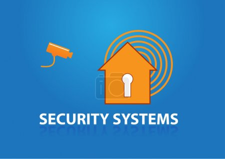 Illustration for House with key holder symbol alarm and text security systems, security camera - Royalty Free Image
