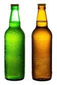 Brown and green beer bottles