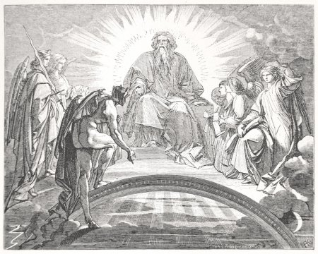 Mephisto in front of God and the three archangels in Faust