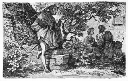 Goethe's Faust: Faust and Gretchen in the garden, Mephisto listens