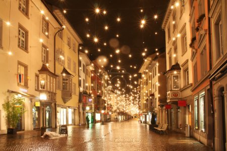 Street in a Christmas night