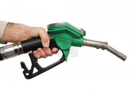 Male hand holding petrol pump isolated