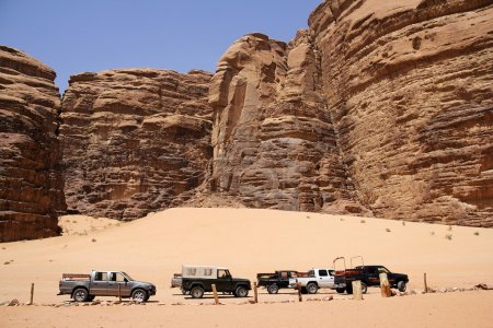 Safari jeeps in the valley of Laurence of Arabian