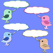 Four scrapbook styled birds with speech bubbles over blue