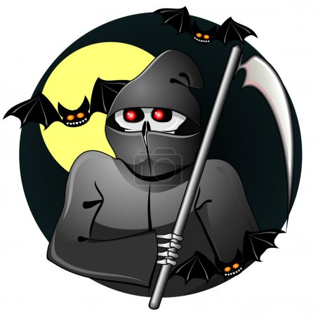 Illustration for Scary grim reaper of souls with scythe and bats - Royalty Free Image