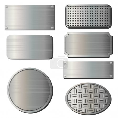 Illustration for Set of seven gray metal plates over white - Royalty Free Image
