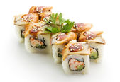 Roll made of Salmon, Cream Cheese and Avocado inside. Topped with Smoked Eel