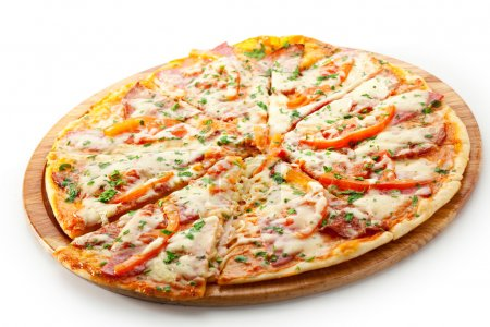 Photo for Pizza with Ham, Salami, Tomatoes and Mozzarella Cheese - Royalty Free Image