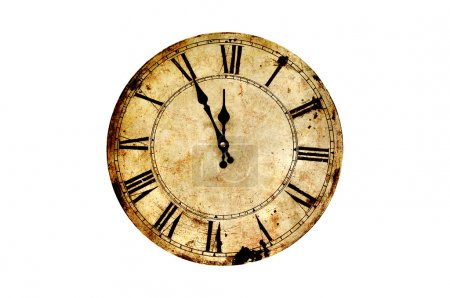 Photo for Five minutes to twelve on isolated vintage clock. - Royalty Free Image