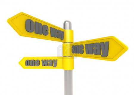 One way sign post