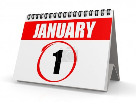 January 1 calendar image with hi-res rendered artw...