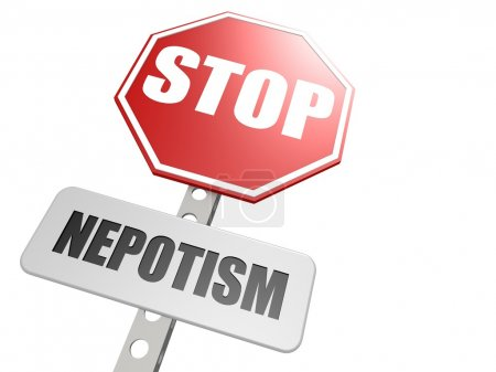 Stop nepotism road sign