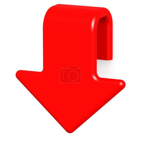 Photo for Red arrow down image with hi-res rendered artwork that could be used for any graphic design. - Royalty Free Image
