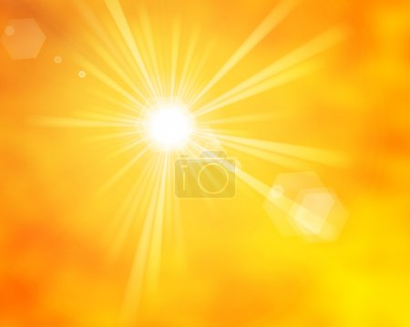 Photo for Glossy yellow orange summer sun rays with lens flare - Royalty Free Image