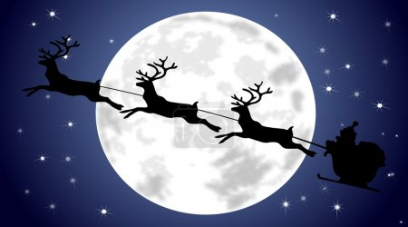Photo for Santa Claus driving his sleigh on christmas winter background - Royalty Free Image