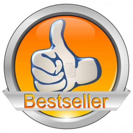 Photo pour Bouton orange brillant best-seller sur fond blanc - image libre de droit