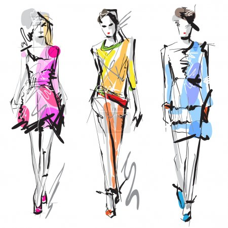Illustration for Fashion model. Sketch. Hand-drawn Vector illustration - Royalty Free Image