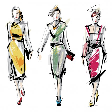 Illustration for Woman fashion model hand-drawn illustration - Royalty Free Image