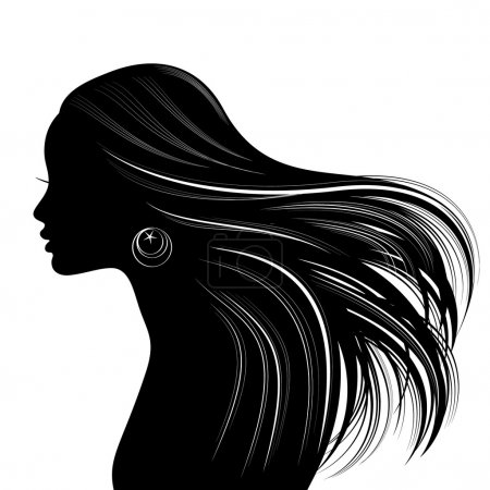 Illustration for Woman face silhouette with wavy hair - Royalty Free Image