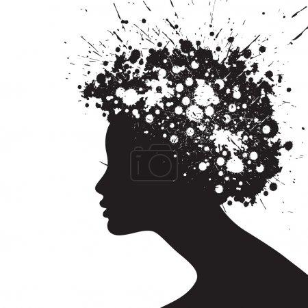 Illustration pour Silhouette de coiffure femme - image libre de droit