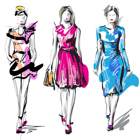 Illustration for Fashion model. Hand-drawn vector - Royalty Free Image