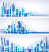 City skyline banner set
