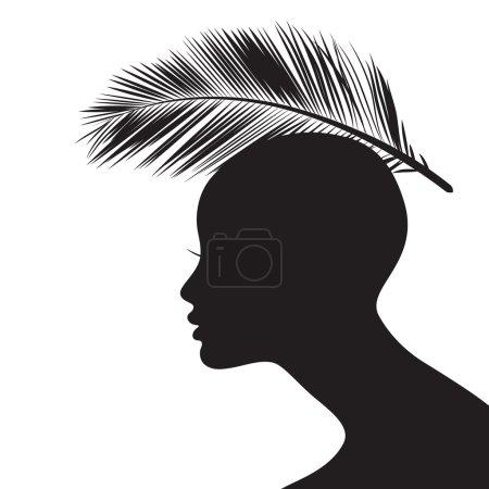 Illustration pour Silhouette visage femme avec feuille de palmier - image libre de droit