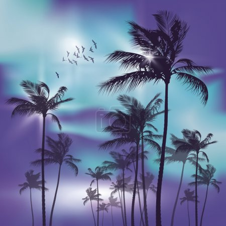 Illustration for Palm trees at sunset - Royalty Free Image