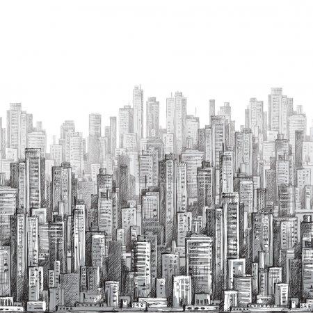 Illustration pour Paysage urbain, illustration vectorielle dessinée à la main - image libre de droit