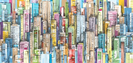City landscape, hand drawn vector illustration...